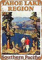 金属看板タホ湖への1928の南太平洋鉄道住宅装飾の壁画のポスター