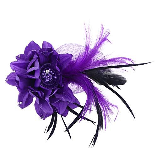 Beaupretty - 1 Pieza de Tela Hecha a Mano, Broche, diseño de Flor con Plumas, Diadema para el Pelo, para Mujer, Color Morado