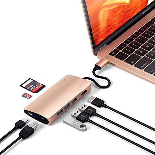 Satechi Aluminum Multi-Port Adapter V2-4K HDMI (30Hz), Gigabit Ethernet, USB-C Pass-Through, SD/Micro Card Readers, USB 3.0 - Compatible with 2018 MacBook Air, 2019/2018 MacBook Pro (Gold)