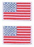 b2see Fahnen Flagge Aufnäher Aufbügler Applikation für Jacken Jeans Kleidung Aufbügler zum Aufbügeln USA 2 er Set 2 STK je 5 x 3,5 cm