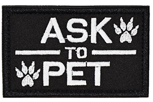 U-LIAN Ask to Pet Patch Tactical Service Dog Patch for Pet Harness Vest Black Hook and Loop