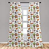 Ambesonne Forest Window Curtains, Doodle Woodland Creatures as Honey Bear Rabbit Fox and Raccoon in Nature Habitat, Lightweight Decorative Panels Set of 2 with Rod Pocket, 56' x 84', Green Brown