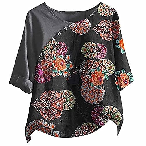 Women Summer Linen Cotton Tshirt Tops Ladies Trendy 3/4 Sleeve Vintage Print Loose Fit Plus Size Button Blouses Tees