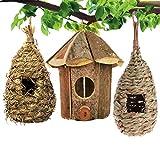 Hamiledyi Vintage Chickadee Bird House Nest Hummingbird House for Outside Small Grass Hanging Bird Nesting Natural Wooden Garden Birdhouse Box 3 Pack