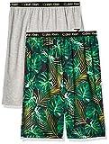 Calvin Klein Boys' Lounge Pajama Shorts, 2 Pack, Heather Gray/Palm Leaves, 10-12