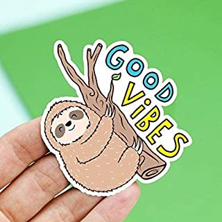 Good Vibes Sticker, Vinyl Decal, Sloth Art, Car Sticker, Girlfriend Gift, Birthday Gift, Small Gift, Animal Stickers, Turtle's Soup