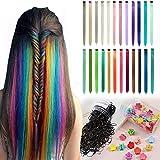 Farbige Haarverlängerung Clips 24 Farben Bunte Haarsträhnen Glatte Regenbogen