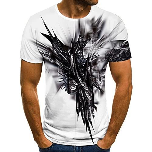 Streetwear Hombres Verano Cuello Redondo Estilo Hip Hop Manga Corta Hombres T-Shirt Básica 3D Novedad Creativa Impresión Hombres Shirt Personalidad Frescos Hombres Shirt Ocio