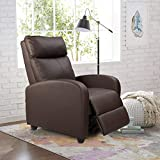 Homall Recliner Chair Padded Seat Pu Leather for Living Room Single Sofa Recliner Modern Recliner Seat Club Chair Home Theater Seating (Auburn Brown)