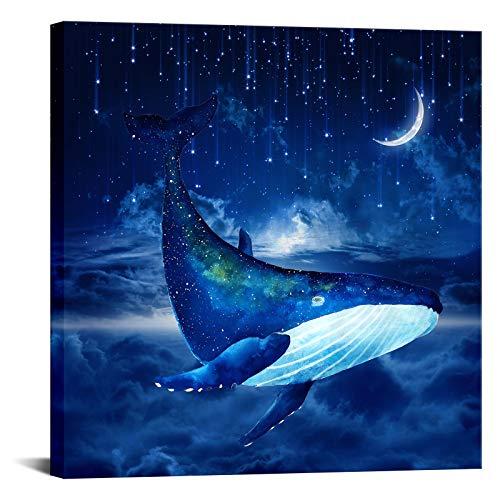 Blue Whale Wall Art Decor Modern Artwork Canvas Prints Sea Animal Fish Picture Stars and Moon Dreamlike Painting Ocean Theme Mediterranean Style for Office Girl Room Bathoom Decor Framed