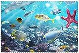 Juego de 6 manteles individuales con diseño de paisaje natural en 3D bajo el agua con peces tropicales, fáciles de limpiar, lavables, modernos manteles individuales para comedor al aire libre