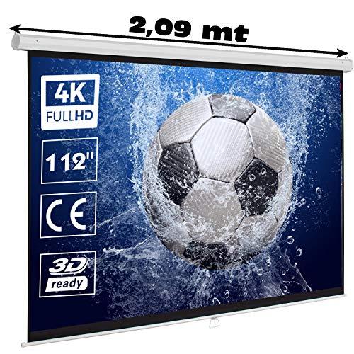 """Pantalla Manual Mural de 112"""", Dimensiones de la Tela 2 x 2 Metros, cajetin de Acero 2,09 Metros, Pantalla para proyector Compatible con 4K, 1:1 (112 Pulgadas 1:1)"""