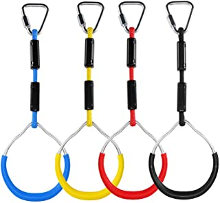 letsgood Colorful Swing Gymnastic Rings - Outdoor Backyard Play Sets & Playground Equipment for Ninja Line, Monkey Ring, C...