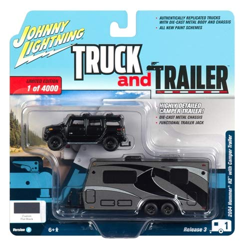 2004 Hummer H2 Black with Gunmetal Camper Trailer Limited Edition to 4,000 Pieces Worldwide Truck and Trailer Series 3 1/64 Diecast Model Car by Johnny Lightning JLSP037 A