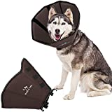 BABYLTRL Dog Cone Collar for After Surgery, Soft Pet Recovery Collar for Dogs and Cats, Adjustable Cone Collar Protective Collar for Small Medium Large Dogs Wound Healing (XL, Dark Brown)