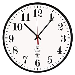 Chicago Lighthouse Slimline Atomic Wall Clock, Black, 12.75
