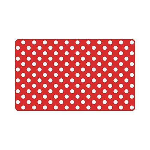 LVOE TTL Girly rote und weiße Polka Dots Fußmatte Anti-Rutsch-Eingangsmatte Boden Teppich Indoor/Outdoor Fußmatten Home Decor, Gummi-Rückseite 23,6 X 15,8 Zoll