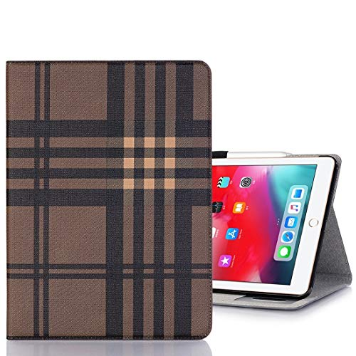 Ipad case Plaid Texture Horizontal Flip PU Leather Case for iPad Pro 11 inch (2018), with Holder & Card Slots & Wallet(Grey) Asun (Color : Coffee)