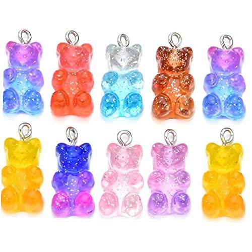 Encantos 10pcs Gradiente Caramelos De Goma Pendiente Pendiente del Collar del Oso De Resina De Joyería DIY Decoración para Chicas