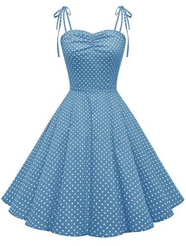 Wedtrend Polka Audrey Hepburn Dress Retro Plaids 1960s Dresses for Women WTP10006BlueWhiteDotXL