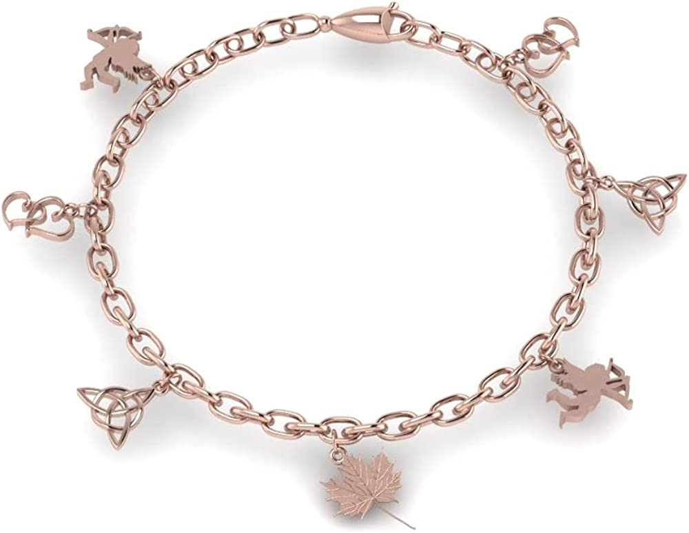 Indefinitely Silvercartvila Love Symbol Charm Regular dealer Bracelet In Women White For 14K