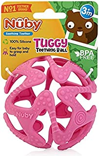 Nuby 100% Silicone Tuggy Teether Ball, 3 Months+ (Pink)