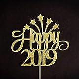 Decoración para tarta para fiesta de Año Nuevo, centro de mesa de Año Nuevo, decoración de tarta de Nochevieja, decoración dorada