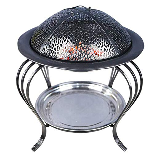 CARACHOME Fire Pits for Garden, Stainless Steel Garden Grill Brazier Kits, Indoor Charcoal Fire Pit Carbon Stove Home Heating Stoves Outdoor BBQ, for 2-8 People Dining,Black,L