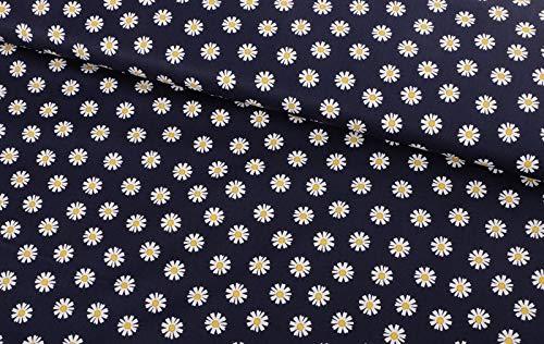 Qualitativ hochwertiger Baumwollstoff, Blumen auf Marine zum Nähen zum Nähen von Damen - und Kinderkleidung, 50 cm
