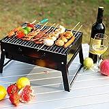 家族に優しいグリル、庭のキャンプ場の祝祭党バーベキューのための小型折る木炭グリル(黒) 43x29x23cm