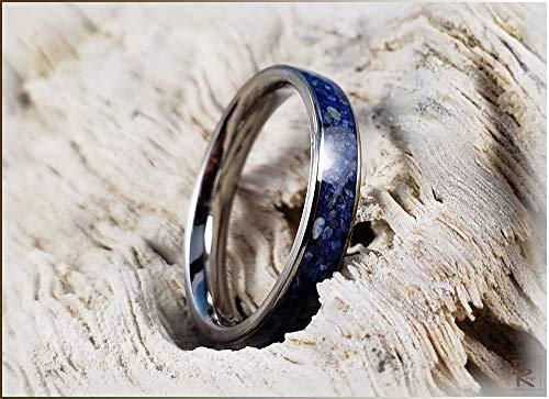 Titanium Channel Ring w//Lavender Lepidolite stone inlay