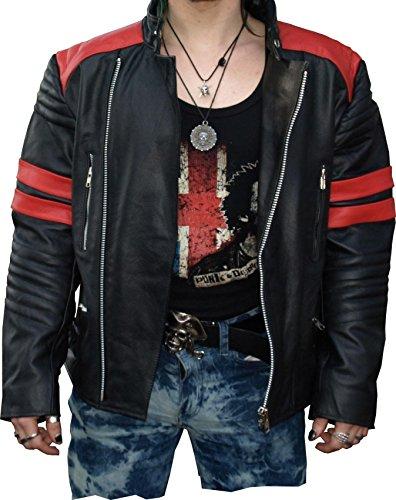 Hard Leather Oldschool Retro Lederjacke, Farbe: Schwarz/Rot, Größe: XXL