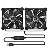 Quiet Dual 120mm USB Fan with Speed Controller, Dual Ball Bearing for Receiver DVR Playstation Xbox Computer Cabinet Cooling