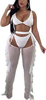 Women's Sexy 2 Pieces Outfit See Through Crop Top and Pants Sets Mesh Backless Jumpsuits Clubwear