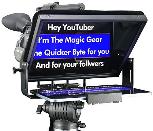 Adjustable Tablet ipad pro 11' Teleprompter Smartphone Home Video Self Recorder Portable Prompter for Studio DSLR Create Video Black