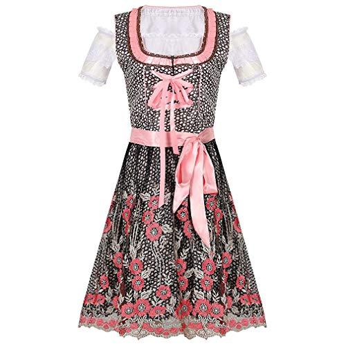 Generise Tradicional Vestido Falda Acampanada Completar Conjunto - Mujer Alemn Dirndl Vestido Oktoberfest Disfraz para Halloween Carnaval Lujoso Vestido (Vestido + Delantal)