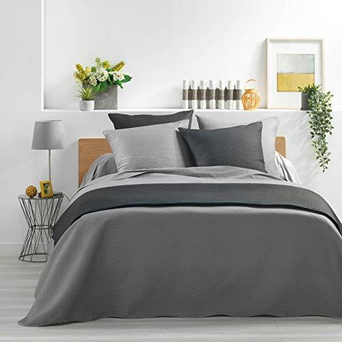 Tagesdecke für Doppelbett, Matratze, 220 x 240 cm, Mikrofaser, einfarbig, Meyline, Grau + 2 Kissenbezüge 60 x 60 cm