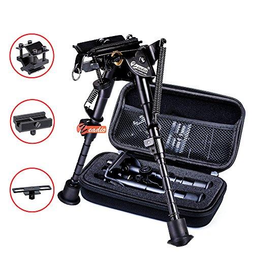 Zeadio kippbar schwenkbar Zweibein mit Schlinge-Halterung, 3 Adapter und Schutzbox (15 bis 23 cm / 6 bis 9 Zoll)