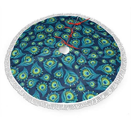 UKFaaa - Falda para árbol de Navidad, diseño de Plumas de Pavo Real con Flecos, Tela, Negro, 121,9 cm