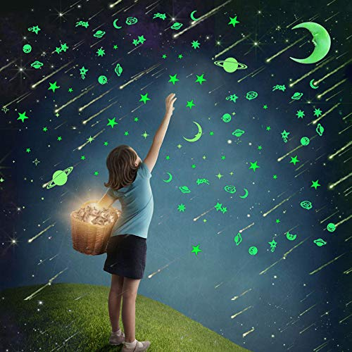 232Pcs Glow in Dark Stars Stickers,Glowing Stars Moon Decals for Ceiling Wall Decoration Perfect for Kids Bedding Room Birthday Party Gift