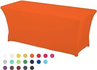 HAORUI Spandex Lycra Elástica 180×76×76cm Cubierta de Mesa Paño de Rectangular Adecuado a la Mesa de Banquetes Matrimonial Mesa de Caballetes(180 * 76 * 76cm Naranja)