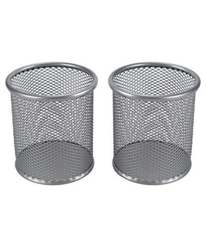 EasyPAG 2 Pcs 3.5 inch Round Mesh Cup Desk Pen Pencil Holder,Silver