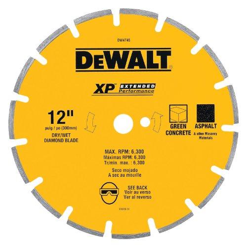 DEWALT DW4745 XP 12-Inch Dry Cutting Diamond Segmented Saw Blade with 1-Inch Arbor for Ashphalt and Green Concrete