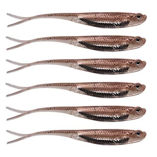 QualyQualy Señuelos de Vinilo para la Pesca de Peces Depredadores 6 Piezas - 8cm Señuelos con Cebo Blandos senuelos de Pesca (8#)