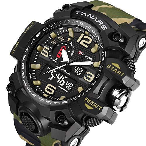 Reloj Digital para Hombres Muñeca Deportiva Militar Multifunción 50M Reloj Impermeable 12H / 24H Reloj De Camuflaje De Moda Electrónica De Doble Hora Calendario Cronómetro Alarma
