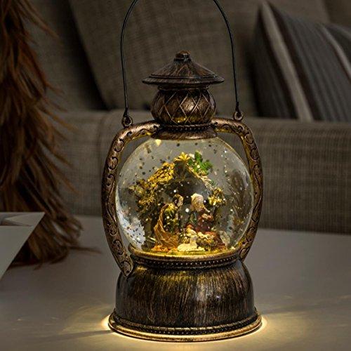 LED Weihnachts-Laterne mit Krippe in Wasserkugel