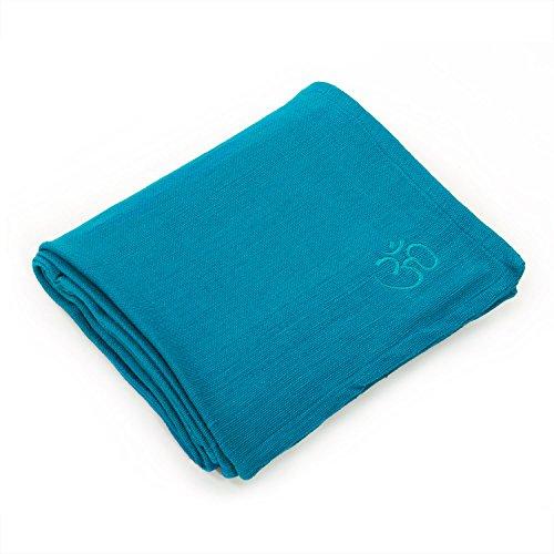 Yogadecke SHAVASANA,100prozent Baumwolle, robust, Tagesdecke, Kuscheldecke (petrol)