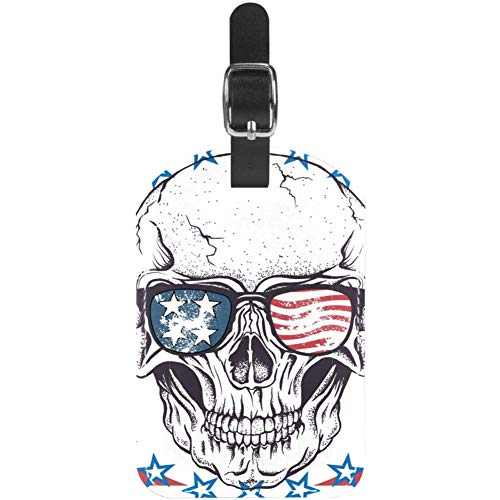 Luggage Tags African Flag Skull Leather Travel Suitcase Labels 1 Packs