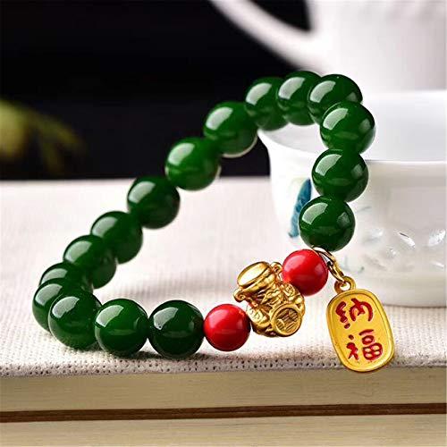 Weckan Feng Shui Pulsera Dios de la Riqueza Nafu Jasper Redondo Bead Crystal Talisman Bangle Protege Suerte Amor Dinero Feliz...