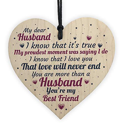 XLD Store Anniversary Card Husband Gifts Him 1st 2nd 3rd 4th Wedding Idea Wooden Heart Keepsake